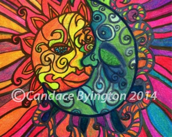Sun Moon Eclipse Psychedelic Pop Art 1960s Inspired Illustration Digital Download 600 dpi by Candace Byington