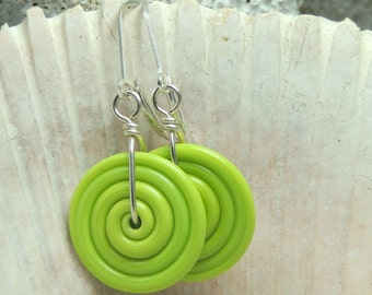 LIME SWIRL Handmade Lampwork Dangle Earrings