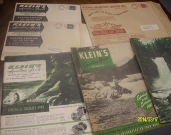 Lot of Six Kleins Sporting Goods Catalogs.  1940's
