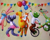 "8""x10"" Circus Parade of Blabla  Knit Toys Print"