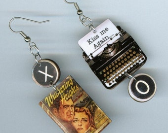 Wuthering Heights Book cover Earrings Emily Bronte quote vintage Typewriter