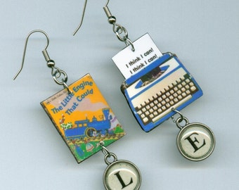 Book Cover Earrings - The Little Engine Who Could -  Typewriter Key jewelry - book lovers club literary gift - children's reading
