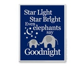 Baby Elephant Nursery Art Print, Star Light Star Bright Nursery Rhyme Picture, Boys Bedtime Baby Room Decor, Navy and Grey