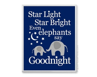 Baby Elephant Nursery Art Print, Star Light Star Bright Nursery Rhyme Picture, Boys Bedtime Baby Room Decor, Navy and Grey