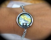 Custom Authentic Silver Vintage Map Floating Pendant Bracelet with your Choice of Message and Charms