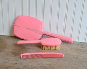 Vintage Pink Hand Mirror, Brush, and Comb Set - Boxed - Silk Creek Gallery