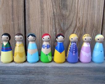 "Princess- SINGLE PEG - 3.5"" Perfect for a Birthday Cake Topper, princess peg, hand painted princess, peg people, peg doll"