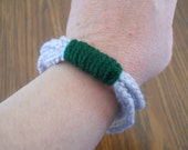 Silver and Green Crocheted Chain Bracelet, Multicolored Bracelet, Makes a great gift, perfect for teenagers.