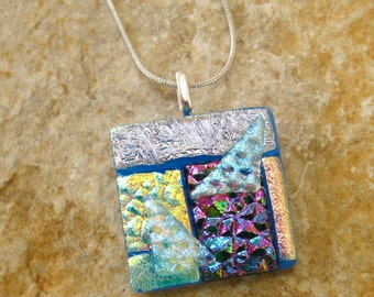 Blue and Purple Dichroic Pendant, Summer Jewelry, Fused Glass Necklace, Dichroic Glass Jewelry, Textured Glass Slide - Study in Patterns