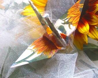 Aung San Suu Kyi Peace Crane Wedding Cake Topper Favor Christmas Ornament Origami Japanese Paper Bird Yellow Sunflower