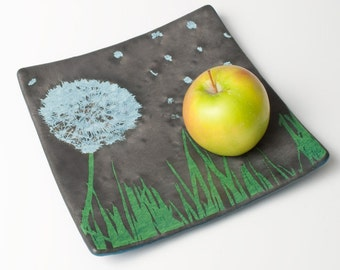Dandelion Fused Glass Platter, Dandelion, Nature, Pretty