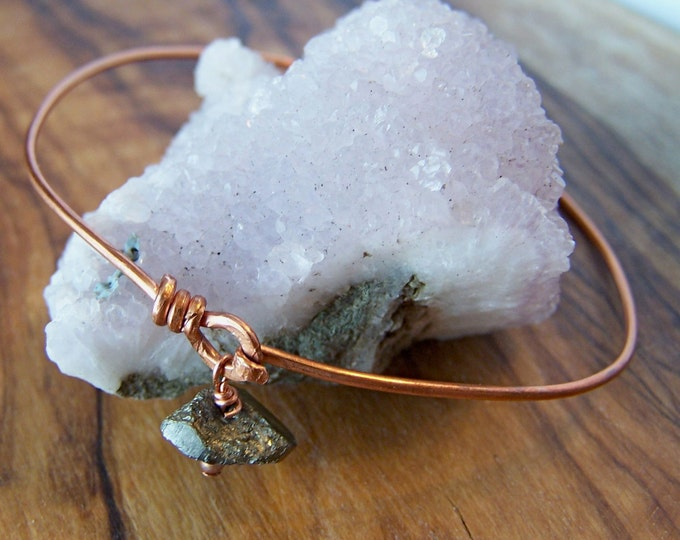 Clearance Sale: **READY TO SHIP** Latch Bangle- Pyrite. Copper. Choose your size.