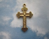 Cross Charms Fancy Solid Brass Christian Jewelry Findings on Etsy x 1