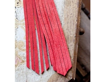 long red leather fringe earrings - hand cut deerskin