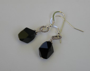 Earrings - Sterling Silver and Black Swarovski Crystal Dangle style