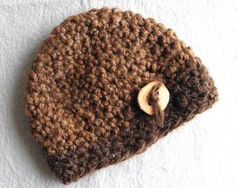 Baby hat beanie crochet rustic mid brown tree branch button handspun undied wool OOAK READY MADE newborn boy girl photography photo prop