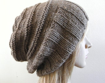 Hand knit slouchy hat wide band in taupe barley medium brown luxury soft organic wool handknitted slouch women men teen unisex