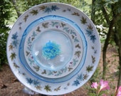 Plate Flower Garden Art-Turquoise and Olive