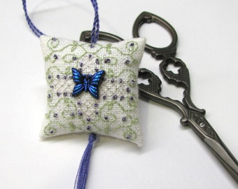 New Beginnings Scissor Fob Ornament Pin Cushion Completed Beaded Cross Stitch Needlework