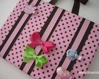 Fabric HAIRBOW Holder handmade - Hair Bow Holder - Pink and Brown - FREE SHIPPING