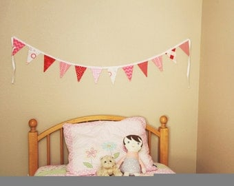 Red and Pink Bunting party decoration. Fabric sewn flag banner. Photo prop. 12 flags