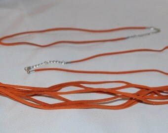 18 to 20 inch ((( ORANGE ))) Soft SUEDE Leather Pendant Cord with lobster clasp