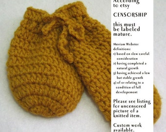 Crochet Willie Warmer Penis Cozy - willy warmer in golden yellow, mature