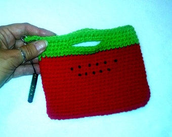 Crochet Cell Phone Bag, watermelon color cell phone cozy