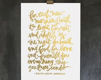 18x24 poster / ralph waldo emerson thankful poster / digitally printed faux gold foil