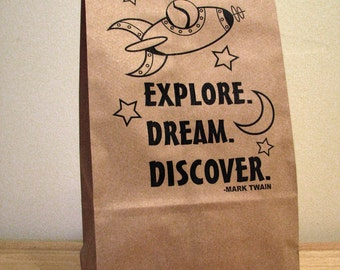 5  Explore Dream Discover Lunch Bags - Back to School - Party Bags - Favor Bags - Snack Bag - Brown Paper Bag - Printed Kraft Bag
