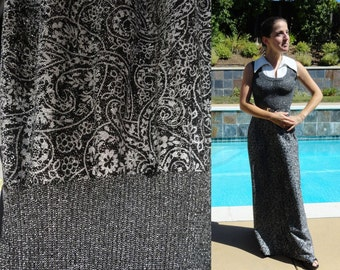 Vintage 70s Metallic Knit Silver and Black Sleeveless Maxi Gown Dress