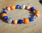 Florida Gators Bracelet * University of Florida * UF * Denver Broncos * Blue & Orange Beads * 100% of proceeds go to pet rescue in Florida