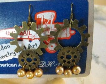 Steampunk Antiqued Gold Gears Earrings