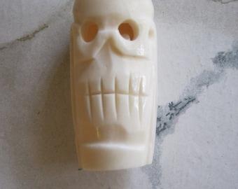 Large Carved Skull Bone Bead