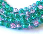 Pink & Green 10mm Crackle Glass Beads (80)