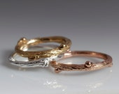 Willow twig ring, 14k yellow, rose, and white stacking rings, twig stacking set, Made to order, your size