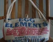 vintage chicken feed sack purse - Gold Star EGG ELEMENTS - Biggie Carpetbag
