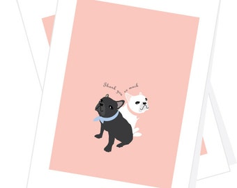French bulldogs Thank you very much card set 4 cards