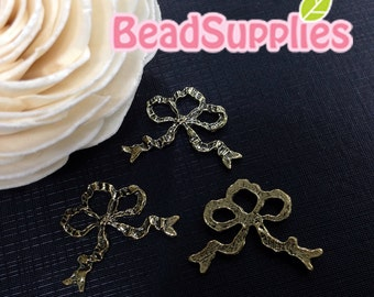 CH-ME-03333 - Nickel Free, Antique Brass,Ribbon bouquet, 4 pcs