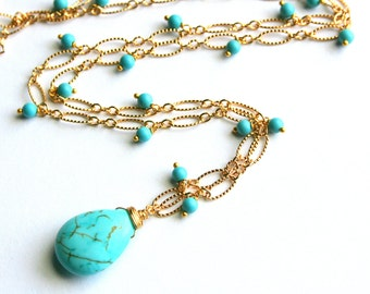 Gold Turquoise Pendant Necklace, Blue Drop Necklace, Wire Wrapped, Gold Filled, Teardrop Wedding Necklace