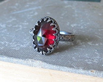 Rose Cut Oval Garnet Ring Gemstone Cocktail Ring Sterling Silver Cabochon Statement Ring Vintage Style