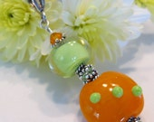 Lampwork (Handmade Glass) Pendant Sterling Silver  Slide Swarovski  Bali Caps Brite Colorful Fun