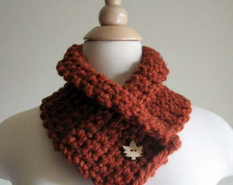 Spice Neck Cozy Neck Warmer Cowl with Wooden Maple Leaf Button -  Women - Winter Scarf - Autumn Scarf