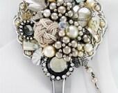 Hand Mirror - Recycled Petite Jardin - Repurposed Jewelry - M000979