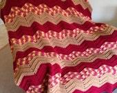 Brown/Burgundy Ripple Design Afghan/Throw/Blanket