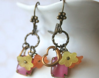 Cecily Earrings in Pink