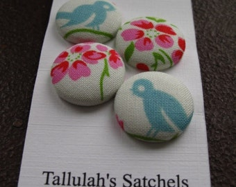 Wearable Sew On Fabric Covered Buttons - Size 36 or  7/8 inches  Birds and Flowers