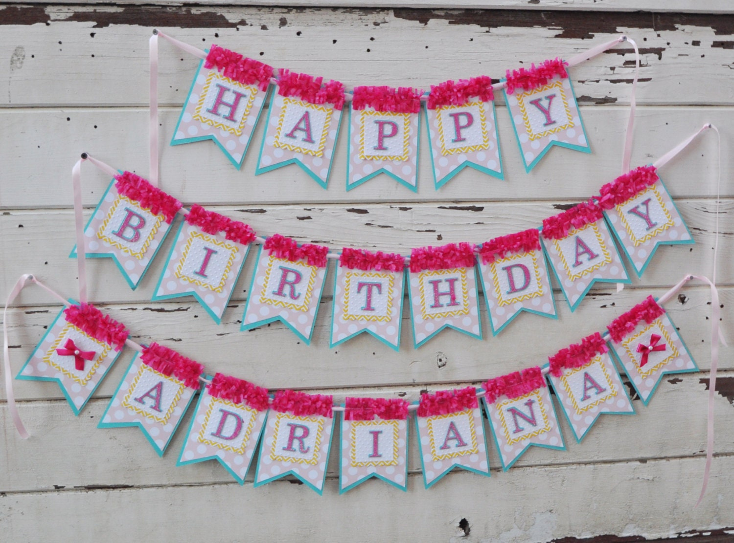 ribbons and bows happy birthday banner with name girl 1st birthday