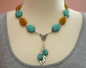 Turquoise and Honey Colored Dangling Charm Necklace, Dangling Necklace, Cascading Charms, Mother's Day, Boho Inspired