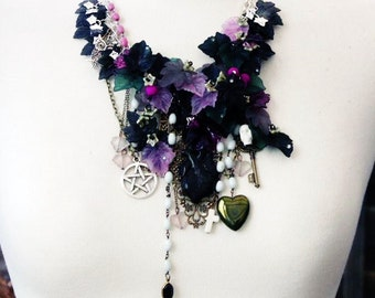 Statement Necklace Charm Necklace black and silver hand wired 'WHEN DARKNESS FALLS' The Witchies Brew Gothic Wicca